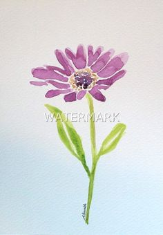 Playful purple gerbera , original watercolour (not print) on 240g paper approx: 7.7x6inch/19.5x15cm. FREE SHIPPING $24.00 USD