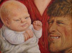"""Otto Dix (Untermhaus bei Gera 1891 - Singen am Hohentwiel 1969)  Otto Dix, der die Stilrichtung der """"Neuen Sachlichkeit"""" wesentlich mitprägte, begann nach der Geburt seines Sohnes Ursus im Frühjahr 1927 mit einer Reihe von Familienbildnissen, die sowohl in der Tradition der Darstellungen der Heiligen Familie stehen als auch in altmeisterlicher Maltechnik ausgeführt sind. Doch wird die im Familienidyll evozierte Andachtsstimmung durch die verzerrte und überzeichnete Physiognomik gebrochen…"""