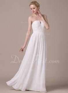 Corte A/Princesa Estrapless Hasta el suelo Chifón Vestido de novia con Volantes Lazo(s) (002059196)