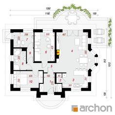 Dom w lotosach 2 Bungalow House Design, Modern Farmhouse Plans, Future House, Floor Plans, How To Plan, Architecture, Home, Projects, Arquitetura