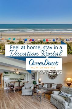 This 5th level suite is oceanfront and offers spectacular views of the blue Atlantic from the master bedroom, living room, kitchen and balcony.  Feel at home, stay in this vacation rental when in Myrtle Beach, South Carolina, USA.