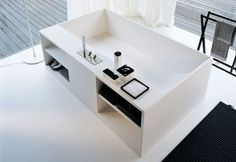 bathtub with bathroom shelves 1