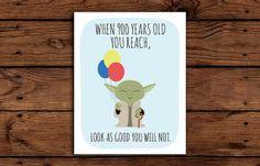 Star Wars Birthday Card Printable // Yoda by SomebodyLovedShop, $2.00