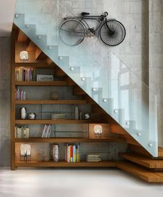 Staircase Decorating Ideas Interior Design Creative Ways to Decorate Your Staircase Staircase Decorating Ideas Interior Design. Whether indoors or outdoors, a staircase always presents a unique and… Shelves Under Stairs, Staircase Shelves, Modern Staircase, Bookshelves, Home Stairs Design, Loft Design, Modern House Design, Home Interior Design, Escalier Design