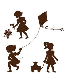 Silhouette Girls Paint-By-Number Wall Mural Kit