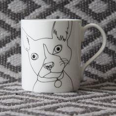 Bone china French Bulldog mug by Nadia Sparham. Designed and made in the UK.