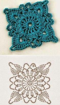 Crochet Granny Square Patterns Diagramas de squares y grannys tejidos al crochet, algunos con combinación de colores que le da un realce especial. Click en cada uno para a. Crochet Coaster Pattern, Crochet Motifs, Granny Square Crochet Pattern, Crochet Blocks, Crochet Diagram, Crochet Chart, Crochet Squares, Diy Crochet, Crochet Granny