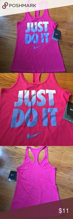 Nike pink just do it tank top BRAND NEW!!! Pink Nike tank top that says just do it:) very cute Nike Tops Tank Tops