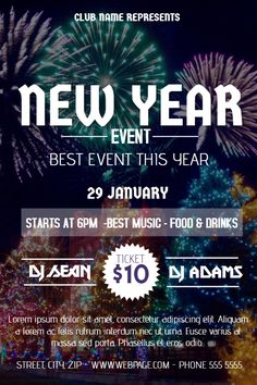 New Year Event Flyer Template Promotional Flyers Free News