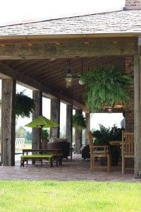 Spacious outdoor porch with lanterns via Al Jones Architects Home Architecture Styles, Southern Architecture, Pool House Shed, Pool Houses, House 2, Outdoor Living Areas, Outdoor Rooms, Porches, Exterior House Siding