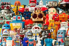 Vintage Robots and Retro Tin Toys: A very colorful assembly of very different toy robots