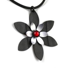 Recycled Inner Tube & Soda Pop Can Daisy Flower Necklace w/ Siam Red Swarovski Glass Cabachon - Hangs on Silicon Cord - Bike Jewelry