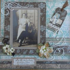 Mr. & Mrs. Warren Perkins ~ love the stitching effect on this heritage wedding page.