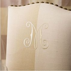 Dining Chair with Monogram & Nailhead Detail