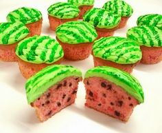 Image { Project Dennler } I'm always amazed at what fun things people do with cupcakes. These watermelon cupcakes are so perfect for sum. Köstliche Desserts, Delicious Desserts, Yummy Food, Cupcake Recipes, Cupcake Cakes, Dessert Recipes, Yummy Treats, Sweet Treats, Cute Cakes