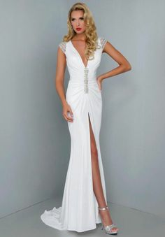 V neck short sleeves beads White Evening Gown Cocktail Party Pageant Prom Dress