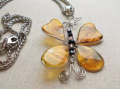 Gold butterfly pendant necklace Yellow butterfly by CrazyDreams888