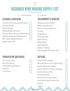 Wine making supply list for beginner wine makers. After the initial set up cost, make homemade wine for cheap! Everything you need to make a wine kit. Get your free printable checklist at MTBottles.ca