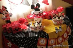 Amazing Minnie Mouse dessert table at a birthday party! See more party planning ideas at CatchMyParty.com!