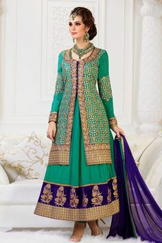 Presenting Green Faux Georgette #Anarkali #Suit with Embroidered and Lace Work Shop Now@ http://zohraa.com/green-faux-georgette-anarkali-suit-29361.html#review-form Rs. 5,149.