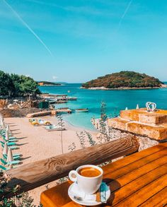 Have a cup of coffee in the pristine beach Good Day Coffee, Coffee Cozy, I Love Coffee, Coffee Art, Coffee Time, Coffee Photos, Coffee Pictures, Coffee Presentation, Cruise Italy