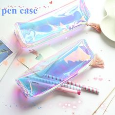 Buy Pen Case Holder Transparent Tassels Zipper Pencil Bag Colorful Student Stationery Pouch at Wish - Shopping Made Fun School Pencil Case, Cute Pencil Case, Stationary School, Cute Stationary, Kawai Japan, School Suplies, Cool School Supplies, Cute Pens, School Accessories