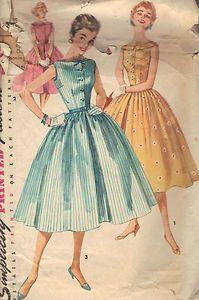 "Vintage 1 PC Dress Sewing Pattern 50s Simplicity 1191 Sz 15 Bust 33 Hip 36"" Cut | eBay"