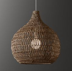 RH TEEN's Terra Pendant:Imbued with an earthy presence, our teardrop pendant is handwoven of reedlike paper rope fibers in a zigzagging pattern around an iron frame. Rattan Light Fixture, Light Fixtures, Interior Design Advice, Room Interior Design, Paper Lampshade, Lampshades, Rattan Lampe, Room Lights, Ceiling Lights