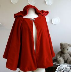 Red Riding Hood Cape Womens Red Hooded Cape volwassen Little Red Riding Hood kostuum in wol of fluweel