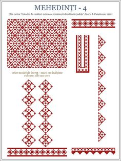 Afbeeldingsresultaat voor modele de ie Folk Embroidery, Shirt Embroidery, Embroidery Patterns, Knitting Patterns, Cross Stitch Borders, Cross Stitch Designs, Cross Stitch Patterns, Wedding Album Design, Embroidery Techniques
