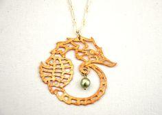 Seahorse Necklace / Seahorse Guarding Green Pearl By Black Rabbit Studio
