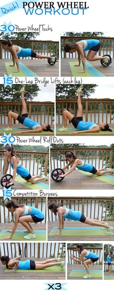 You'll go through the following sequence 3 times. When you strap on the power wheel for the start of each round, it serves as a little break (I'm spoiling you!), so there's no excuse not to push through this as fast as you can.