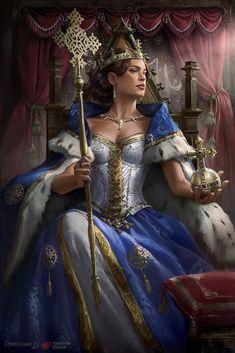 Queen Eleni by Guan Yu chen Fantasy Queen, Fantasy Princess, Fantasy Art Women, Fantasy Warrior, Dark Fantasy Art, Fantasy Girl, Fantasy Artwork, Fantasy Character Design, Character Design Inspiration