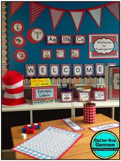 Seuss Theme Classroom Clutter-Free Classroom The post Dr. Seuss Theme Classroom appeared first on Toddlers Ideas. Toddler Classroom, New Classroom, Classroom Design, Kindergarten Classroom, Classroom Themes, Classroom Organization, Dr Seuss Decorations, Diy Classroom Decorations, Dr. Seuss