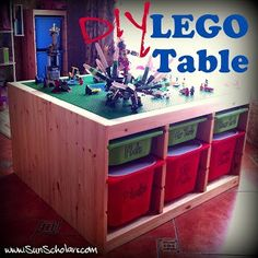 Make a diy lego table out of an Ikea Trofast shelf.