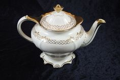 Vintage 6 Tall Teapot with Gold Accents. by ClevelandFinds on Etsy, $45.99