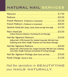 The Products We Use In Our Natural Nail Services Rival Those At High End Spas Without Spa Prices