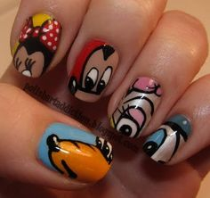 Mickey and friends nail art