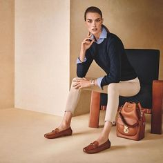 Ultimate ensemble: Cable-knit cashmere sweater, the Capri poplin shirt, and American-made Dalston stretch wool pant.