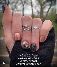 Gold Acrylic Nails, Rose Gold Nails, Diamond Nails, Glitter Nails, Clear Acrylic, Es Nails, Hair And Nails, Nail Color Combos, Nail Colors