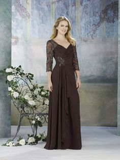 Chocolate Affordable V-neck Long Sleeves Embroidery Mother of the Bride Dress