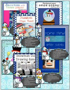 This BUNDLE has 7 fun, easy and engaging seasonal art lessons featuring snowman themes for classroom teachers and art teachers! Please download the preview for a closer look at what's in the bundle. I hope you like what you find!
