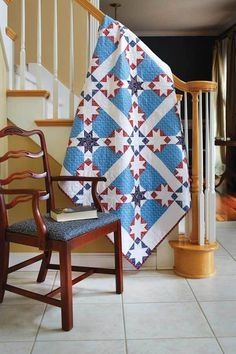 Patriotic quilt patterns and star quilts are always stylish. Jasmine, by Jocelyn Ueng, is cleverly pieced with stars in the blocks and sashing. Lovely prints in a patriotic palette combined with a diagonal star pattern add up to a great quilt.