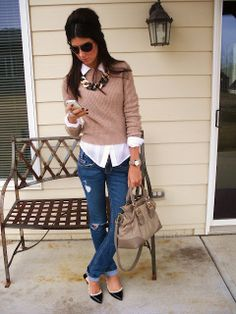 sweater, button up shirt, statement necklace, casual jeans