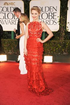 Dianna Agron: 2012 Golden Globes -- I like the ruffles, but I really like the top half. It is very intricate and neat looking.