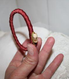 DIY Thick Yarn Wrapped Bracelet w Button Clasp
