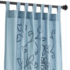 """Flora Embroidered Curtain - Blue 96"""""""