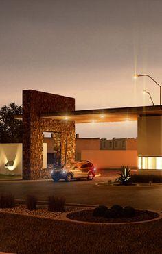 entradas de fraccionamientos - Buscar con Google Fence Gate Design, Front Gate Design, Entrance Design, Garage Design, Gate House, Facade House, Arch Architecture, Contemporary Architecture, Grill Gate
