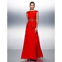 Dress - Ruby Plus Sizes / Petite A-line Bateau Floor-length Chiffon – USD $ 129.99