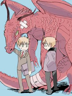 Hetalia- England and America. D: was alfred beating up the dragon?